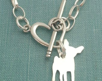 Chihuahua Dog Chain Bracelet, Sterling Silver Personalize Pendant, Breed Silhouette Charm, Rescue Shelter, Memory Gift