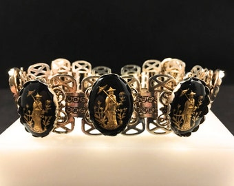 Book Chain Bracelet, Vintage Jewelry, Vintage Bracelet, Black & Gold Intaglio Bracelet, Bookchain Link, 40s Bracelet, Asian Figure, Parasol