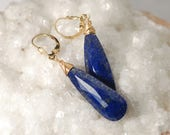 AAA Lapis Lazuli earrings in Gold / Lapis earrings / Lapis Lazuli jewelry / Lapis Lazuli beads / SPIRITUAL ALIGNMENT