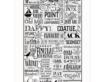 Nantucket, Massachusetts Framed Letterpress City Wall Art Print Poster Gift
