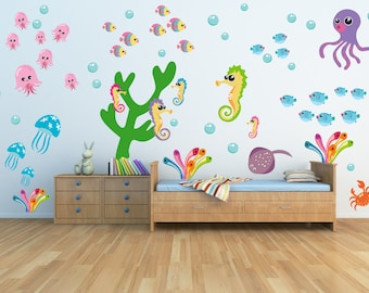 Fish Wall Decals, Kids Wall Decals, FABRIC Decals Reusable Non-toxic NO PVCs, A242