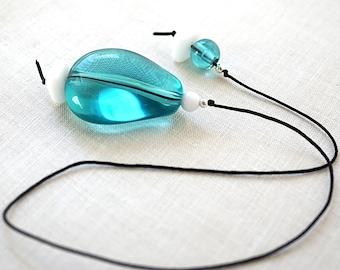 Book Lover Gift Aqua Blue Beaded Bookmark Thong Bookworm Gift For Librarian Gift For Reader Teacher Gift Bookmark Favor stocking stuffer