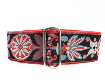 Red Martingale Collar, 2 Inch Martingale Collar, Jacquard Martingale Dog Collar Christmas Martingale Collar Red Black Grey 2 Inch Dog Collar
