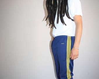 Vintage 70s Adidas Trefoil Blue Three Stripe Running Athletics Pants - 1970s Adidas Pants - 70s Clothing - MV0334