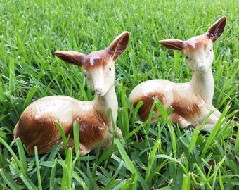 Ceramic Deer from Brazil, mid century fawn figurines