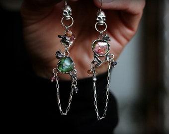 Dia de Muertos Earrings - Rose Cut Watermelon Tourmaline & Spinel Beads - Skull, Succulent, Day of the Dead, Rocker, Mismatched, OOAK, Long