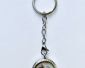 Floating charm locket key chain for bride, stainless steel twist top bridal locket key ring with stones, keepsake bride gift, choose charms