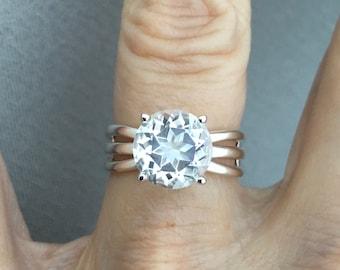 Star White Topaz Three Split Shank Ring