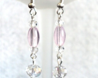 Dangle Earrings, Pink Earrings, Pink and Clear, Wedding Earrings, Prom Earrings, Wedding Jewelry, Prom Jewelry - BLUSHING BRIDE