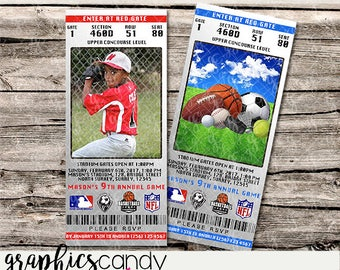 Realistic Sports Ticket Invitations - All sports - Printable - DIY - Digital File - PERSONALISED for YOU - Photo or Generic