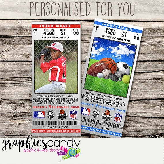 realistic sports ticket invitations all sports printable diy
