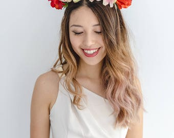 peach red flower crown // spring racing statement flower crown / spring races flower crown headband / flower fascinator bohemian