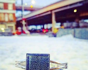 Square Denim Pendant cuff bangle bracelet silver