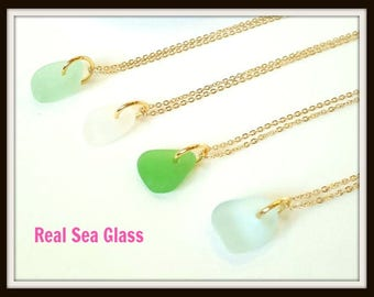 Dainty Gold Seaglass Necklace,Sea Glass Necklace, Gold Beach Necklace, Artisan Necklace, Beach Glass Necklace,Mermaid Necklace,Gold Necklace