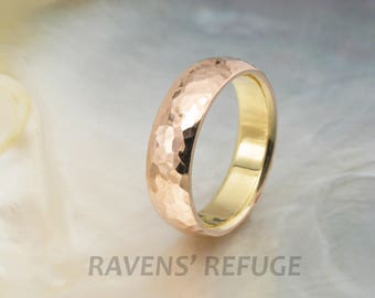 unique wedding band -- hammered domed wedding ring -- by Ravens' Refuge
