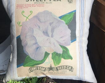 Grain Sack Pillow Cover Light Blue Sweet Pea by Gatheted Comforts