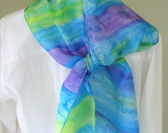 Hand painted silk scarf purple blue aqua lime green  striped 8x54 Canadian design