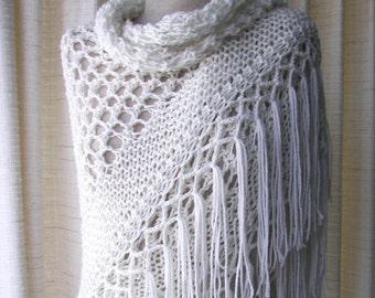 Hand Knit Triangle SHAWL Wrap in Eggshell White 100% Acrylic / Vegan Knit shawl scarf / Bridal shawl / Bridal Cover Up