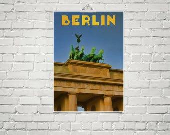 Large 18x24 Art Poster Berlin Germany Retro Style Travel Poster Vintage Art Brandenburger Tor