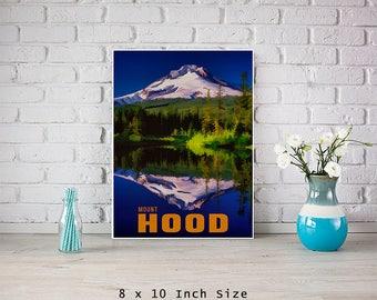 Mount Hood Mountain Art 8x10 Art Print Landscape Art Nature Print Mountain Decor Mountain Wall Art Oregon Art Poster