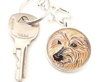 Custom Dog Keychain- Custom Dog Portrait- Chinese Crested Dog- Pet Memorial Gift- Pet Lover Gifts- Dog Memorial Keychain-  Pet Loss Gifts