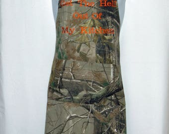 Camouflage Camo Apron Men, Mossy Oak, Get The Hell Out of Kitchen,  Custom Apron For Husband, Dad, Ready To Ship TODAY AGFT 1067