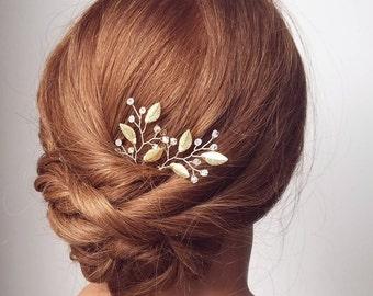 Gold Hair Pins, Leaf Hair Vine, Crystal Hair Pins, Beaded Hair Piece, Wedding Hair Comb, Bridal Accessory, Gold Vine Hairpiece, Hair Clip