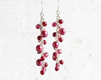 Fuchsia Pink Earrings, Pearl Cluster Earrings on Silver Plated Hooks, Long Pearl Earrings, Bridesmaid Jewelry