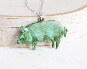 Verdigris Green Patina Large Pig Pendant Necklace (Hand Patina)