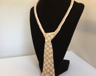 Seed bead original Art Deco novelty tie necklace c. 1930s in pales pink and white