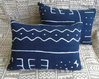 "Two pillows, One Pair ~ African Black Mudcloth Pillow 18"" x 13"" African mudcloth bogolanfini accent pillows Handmade Artisan"