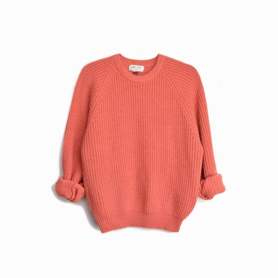 Vintage 90s Ribbed Boyfriend Sweater in Salmon Pink/Orange / Cozy Sweater - men's medium