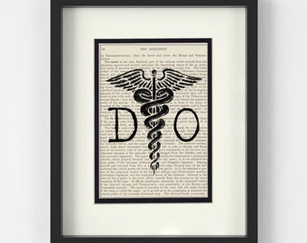Osteopathy, DO Doctor Of Osteopathic Medicine over Vintage Medical Book Page Art Print - Doctor of Osteopathy, Osteopathic Doctor Gift