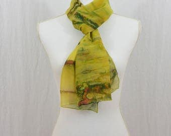 Hand Painted Chiffon Silk Scarf, Bohemian, Chartreuse Green, Green, Watercolor Scarf, Wearable Art, Gift for her, One of a Kind, Whimsical