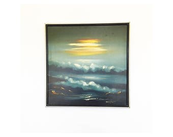 Vintage NIght Seascape Oil Painting / Ocean Painting