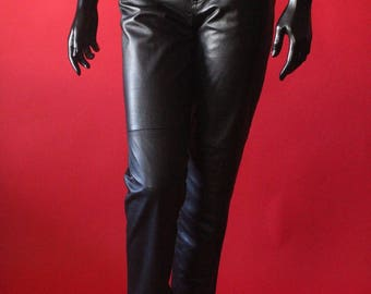 Vintage 90's Black Leather High Waisted Pants by Jones New York Sport, size 4