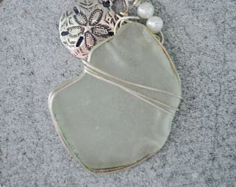 Seaglass Necklace with Sanddollar Charm and Pearls - Sterling Silver - Seaglass Jewelry