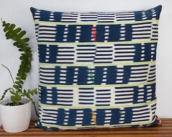 "Oversized Indigo Pillow Cover - Vintage Weaving - West African Indigo - Ivory Coast - 24"" x 24""  - Housewarming - Down Pillow Optional"