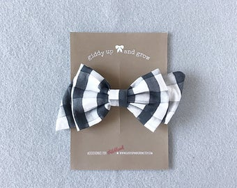 Oversize Fall Bow in Watercolor Check, Hopscotch Bow, Halloween Hair Bows, giddyupandgrow
