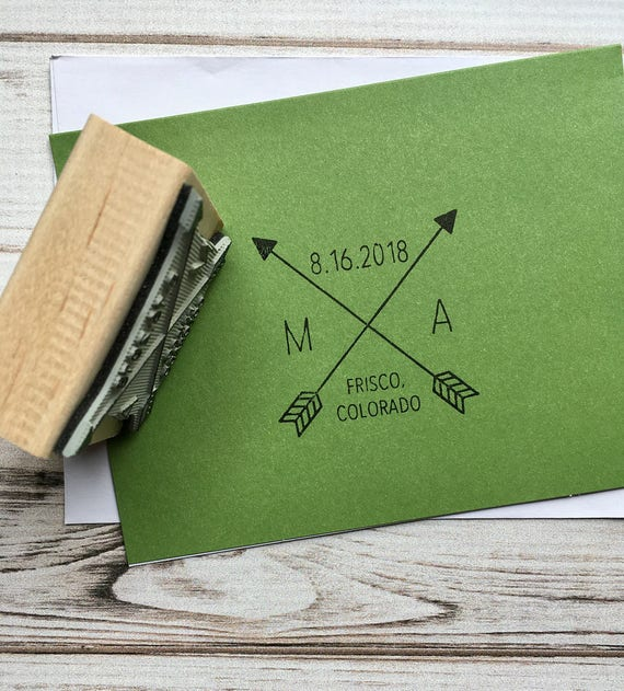 Wedding Stamp Save the Date with Initials, Crossed Tribal Arrows Custom Stamp