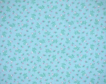 1 YARD, Light Blue Pink Green, Calico Floral Print, Quilting Cotton Fabric, NTT, Flowerbuds Leaves, B30