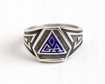 Sale - Vintage Sterling Silver Blue Enamel Letters GA Signet Ring - Retro Size 4 3/4 Initials in Triangle Art Deco Style Statement Jewelry