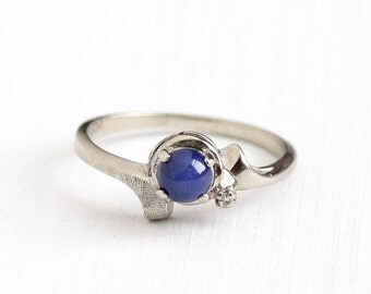 Sale - Vintage 10k White Gold Created Star Sapphire & Diamond Ring - Size 7 Retro Blue Asterism Cabochon September Birthstone Fine Jewelry