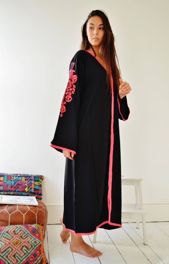 Black Floral Marrakech Bohochic Kaftan Caftan, Winter Dress, Embroidered kaftan, Embroidered Dress