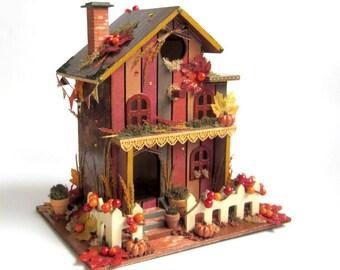 Harvest Birdhouse Thanksgiving Decor Autumn Centerpiece Decorated Bird House Decoupaged Fall Holiday Decoration