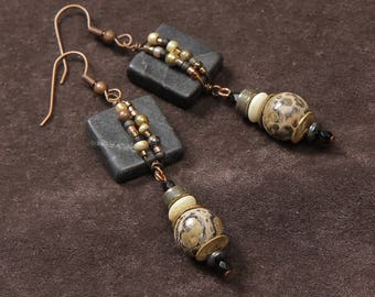 Scorched Earth earrings: wire wrapped blackstone, leopard jasper, bone, pyrite