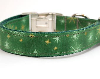 Handmade Dog Collar - Holiday Sparkle in Green - Winder Dog Collar - Gold Accents - Christmas Green Dog Collar with gold Snowflakes