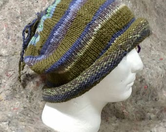 extra-baggy hat with wool and alpaca stripes