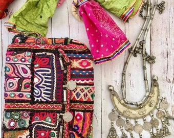 Vintage Handmade Banjara coin clutch shoulder purse,Ethnic Embroidered Fabric Tribal Bohemian hand embellished by Inali Model BP#4