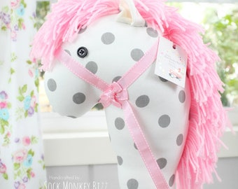 Stick Horse, Handmade Grey Polka Dot on White Ride-On Hobby Horse Toy